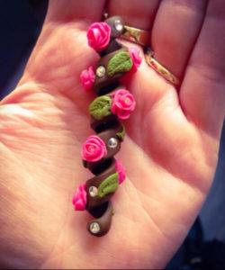 valentines Handmade dreadlock coil bead Swarovski Rose dreadlocks accessories